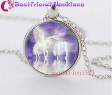 Elegance unicorns Cabochon Glass silver necklace for women men Jewelry