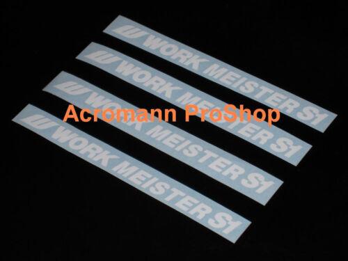 "4x 5/"" 12.7cm Work Meister S1 decal sticker alloy rim wheels lip BLUE WHITE CR RS"