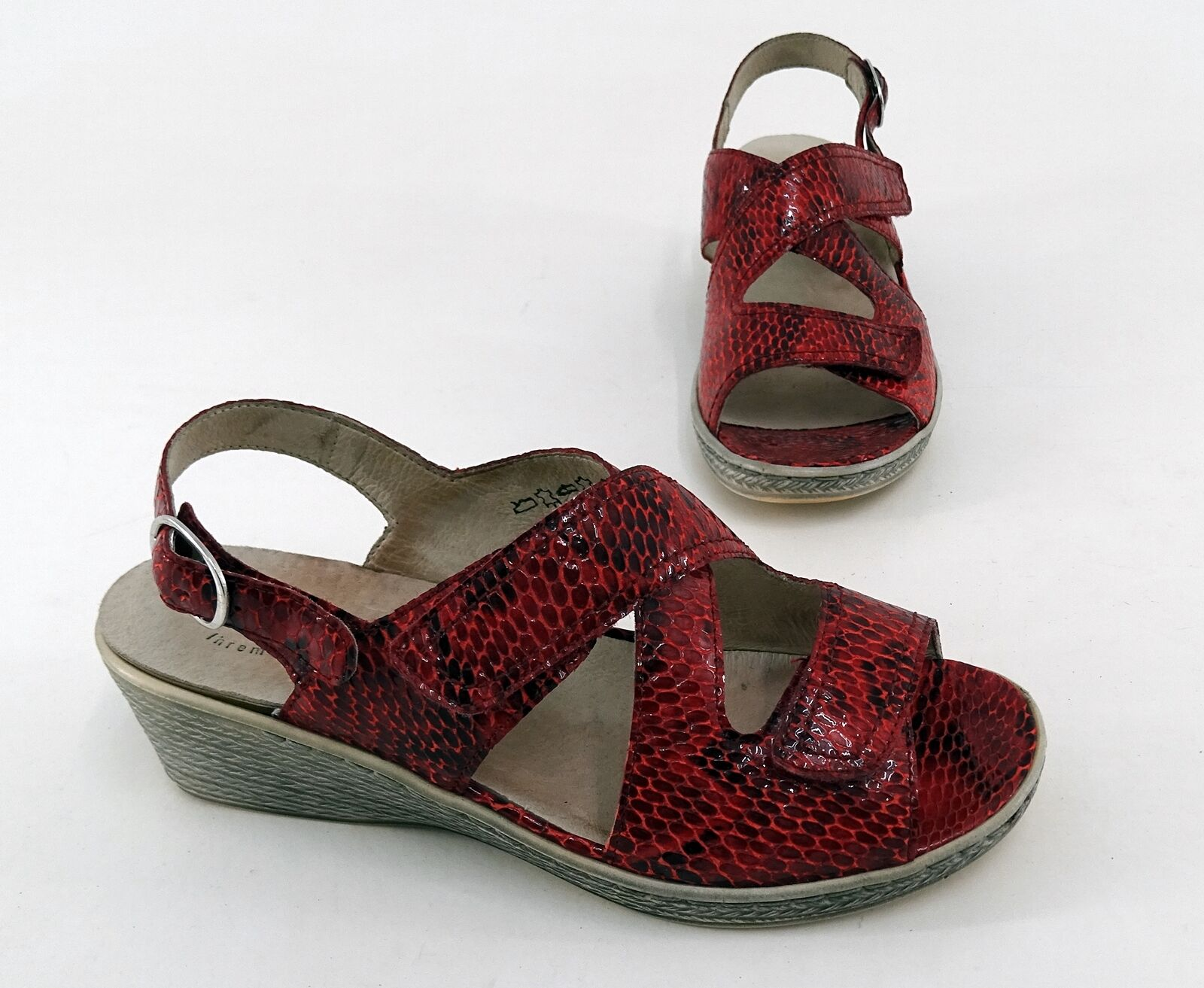 Sandals Vitaform Real Leather Wedge Red Size 39 H