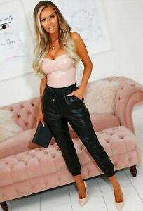 Women Wet Look PU PVC Shiny Paper Bag Faux Leather Look Trouser Pant Joggers