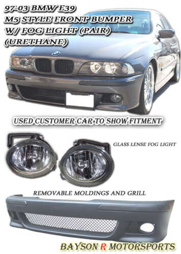 PP with Glass Fog Fits 96-03 BMW E39 5-Series M5-Style Front Bumper Cover