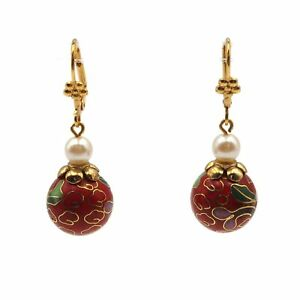 Gold-Tone-14mm-Red-Floral-Cloisonne-amp-6mm-Faux-Pearl-Bead-Dangle-Drop-Earrings