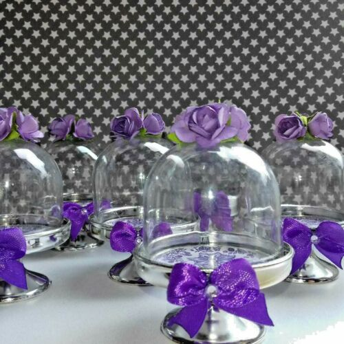 6 Truly Alice in Wonderland MINI CAKE DOMES Tea Party Decor red purple ivory et