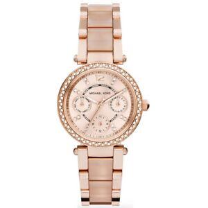 Michael-Kors-MK6110-Rose-Gold-Mini-Parker-Chronograph-Women-039-s-Watch