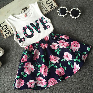 Baby-Girls-Top-Skirt-Floral-Birthday-Party-Outfit-Summer-Dress-2-Pcs-Set