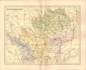 1895 ANTIQUE COUNTY MAP- HERTFORDSHIRE, ST ALBANS, BALDOCK, WATFORD ...