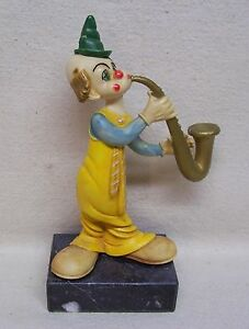 Vintage Italy Clown Figurine On Carrara Marble