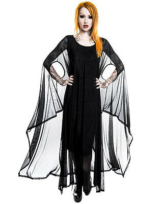 Killstar Gothic Goth Occult Mystic Hannah Hell Mesh Maxi Dress Kimono Sleeve