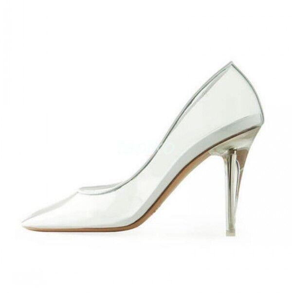 femmes Transprent PVC Pointy Toe High Stiletto Heel Wedding Pumps Party chaussures sz