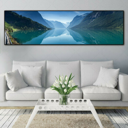River Mountain Landscape Canvas Painting Print Wall Art Poster Home Decor