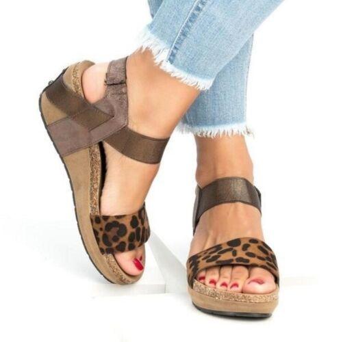 Femmes Escarpins Sandales Talon Compensé Bout Ouvert Chaussures De Loisirs SLIP ON US 4.5-10.5