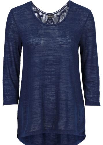 T-shirt avec häkeleinsatz en Bleu Foncé-Taille 36//38-m1853-918090