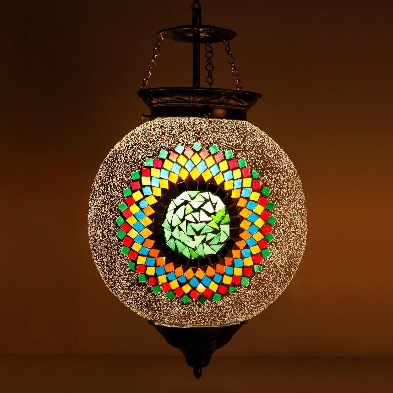 Beads & Crystal Decorated Mosaic Circular Hanging Light Home Wedding Décor
