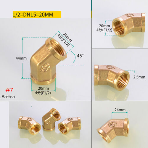 "1//2/""-1//2/""BSP Coupler Brass Pipe Fitting Male Female Thread 45°Connector Adapter"