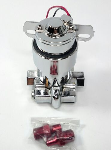 Chrome Electronic Fuel Pump Red Fittings 100 GPH Carburetor Engine 7PSI