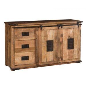Dettagli su Credenza New Port 3 css + 2 ante scorrevoli, legno massello di  mango, vintage
