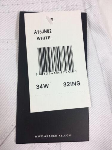 Waist 32-42 Available AKADEMIKS MEN/'S CULTURE TWILL WHITE JEAN