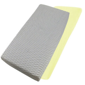 Cot-Bed-100-Cotton-Jersey-Fitted-Sheets-140cm-x-70cm-1x-Lemon-amp-1x-Chevron