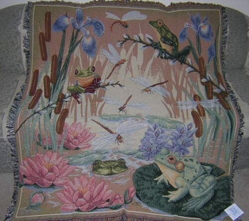 New Frog Dragonfly Afghan Tapestry Throw Blanket Marsh Lilypad Flowers Frogs NIP