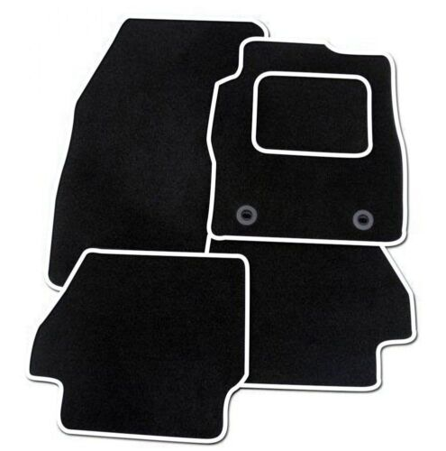 Tailored Fitted Carpet Car Floor BLACK MATS WHITE EDGING VAUXHALL CORSA D 07-14