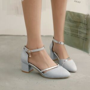 womens shiny sequin ankle strap block heel spring casual