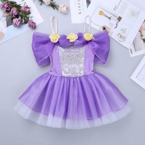 Girls Ballet Sequins Dance Dress Kids Shiny Leotard Tutu Skirt Swan Costume 3-8Y