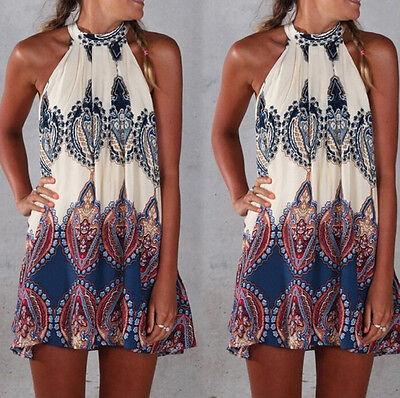 Sexy Women Summer Boho Maxi Evening Party Dress Beach Dress Sundress Mini Dress