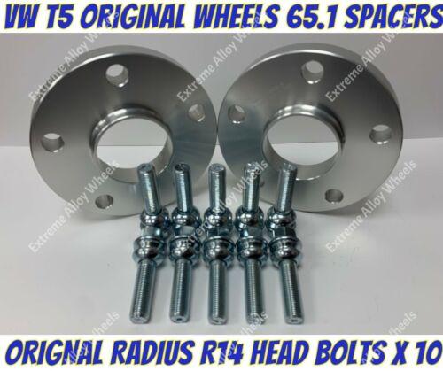 Espaciadores Rueda Aleación 25mm X 2 M14x1.5 S Pernos se ajusta ruedas original VW T5 T6 T28
