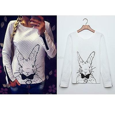 White Rabbit Print Knitted Sweater Jumper Tops Pullover Cardigan Knitwear S-XXL