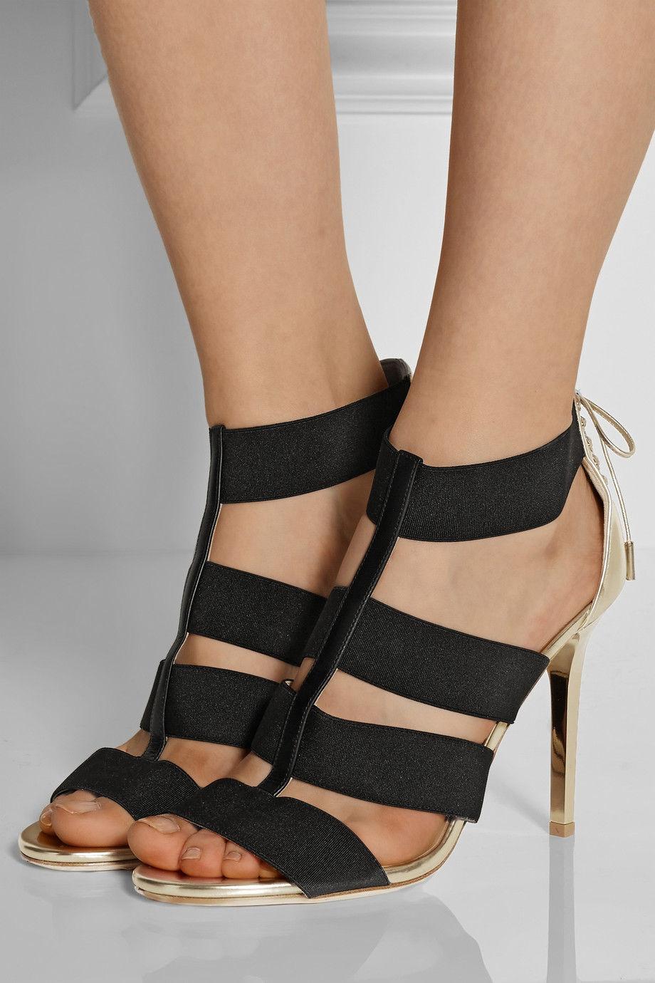 NIB  950 Jimmy Choo DARIO gold Leather & Black Elastic Ankle Sandal shoes 38.5-8