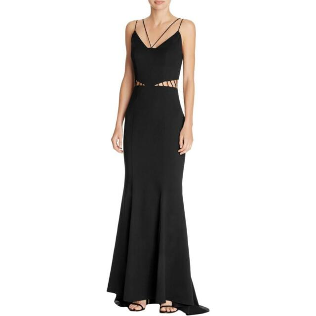 Jarlo \'ashley\' Black Double Harness Strap Cut out Fishtail Gown S 6 ...