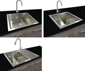 Dettagli su Acciaio Inox 304 Lavello Cucina Incasso Quadrato 1 Piscina  Fatto Mano 44x44