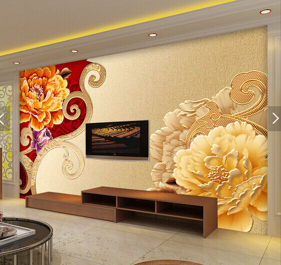 3D Peony Embossed Painting 8 Paper Wall Print Wall Decal Wall Deco Indoor Murals