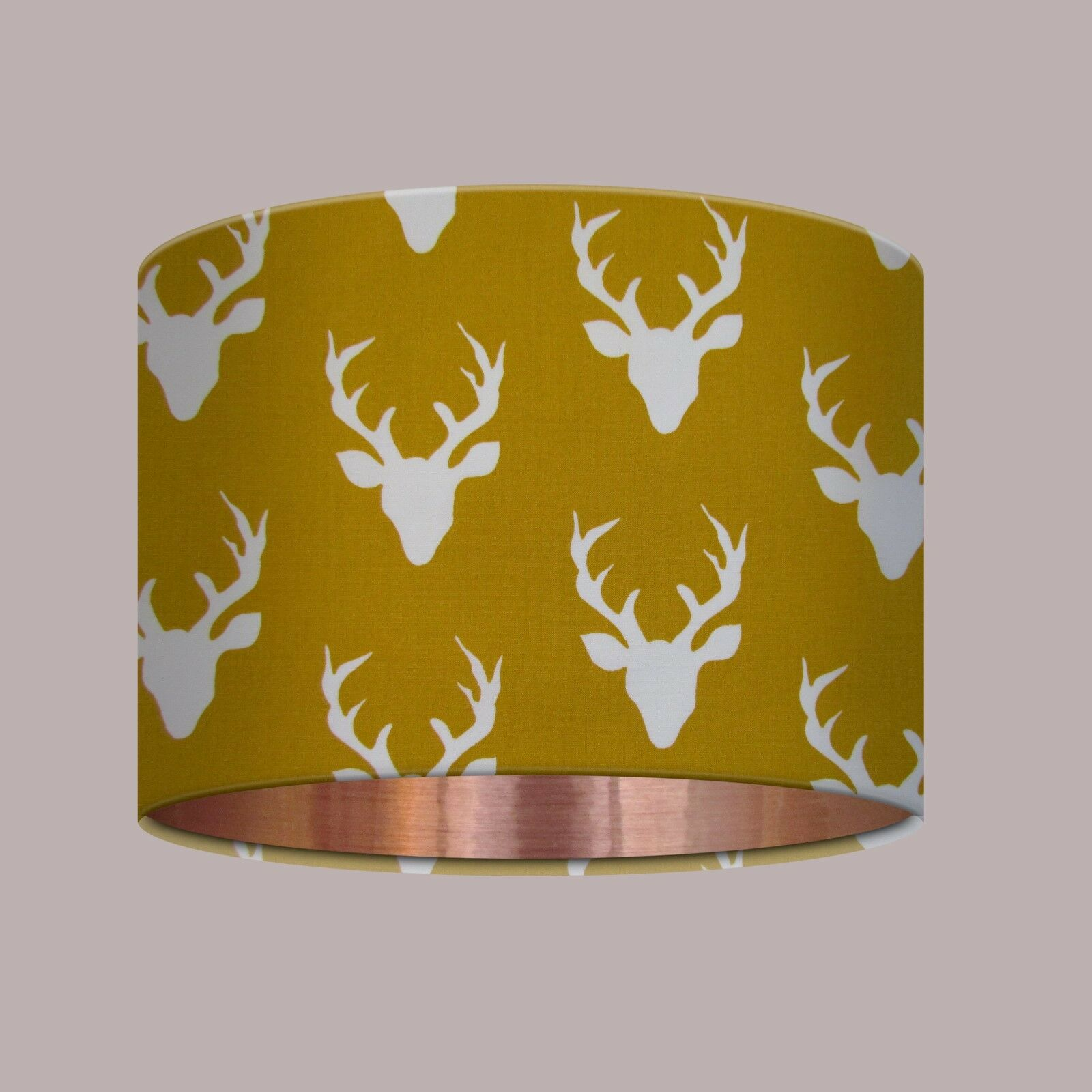 NEW Handmade Mustard Gelb Stag Head Brushed Copper Lined Drum Lampshade