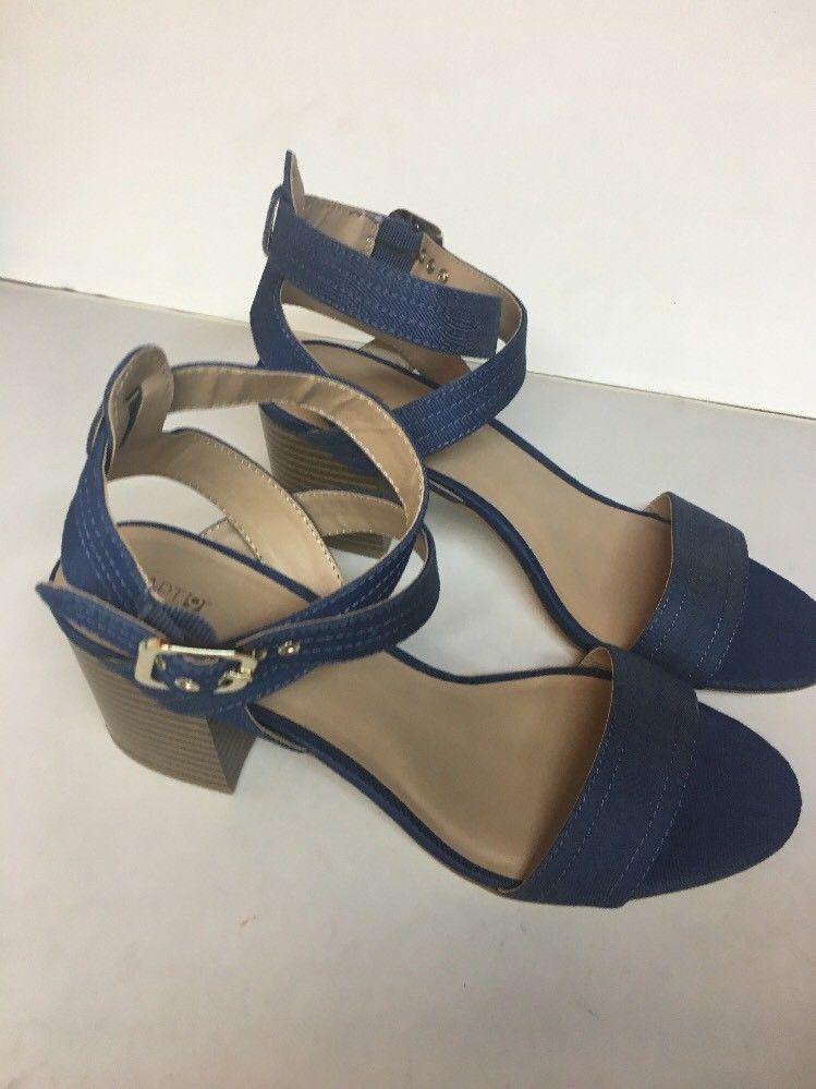 NWOB Apt 9 9 9 Open Toe Dress Shoes Ankle Sandals SZ 10 High Heel Blue Denim d86aed