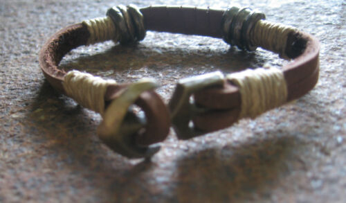 Anchor Surfer Style Brown Leather Men/'s Bracelet Surfer Leather Bracelet Surfer
