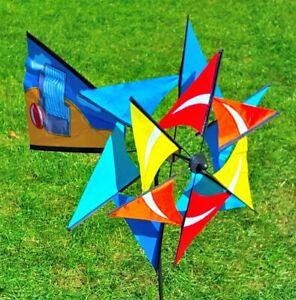 Windspiel-Windmill-Garten-Doppel-Windrad-Windmuehle-Gartenwindrad-Wind-Muehle-Rad