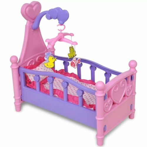 vidaXL Kids Children Playroom Toy Doll Bed Pink and Purple Pretend Role Play