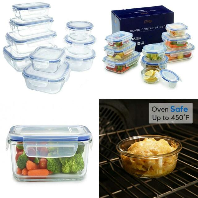1790 BPA Free Clear Glass Food Storage Container - 18 Pieces