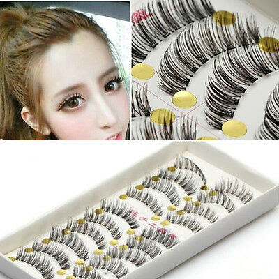 Bulk 10Pairs Long Cross False Eyelashes Makeup Natural Fake Thick Black Eye Lash