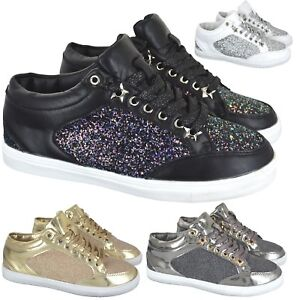 LADIES GIRLS GREEN SPARKLE LIGHT WEIGHT GYM RUNNING SNEAKERS TRAINERS SIZE 3-8