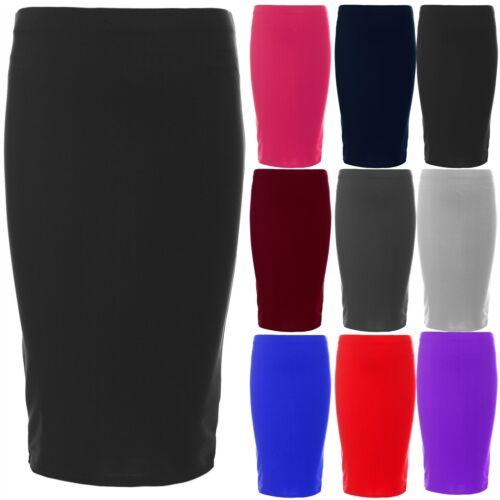 Kids Childrens Girls Plain Elasticated Waist School Wear Party Midi Skater Skirt