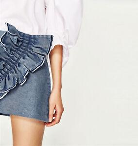 6e159fcde1 NWOT ZARA Frilled Denim Mini Skirt With Oversize Frill Ruffle Size S ...
