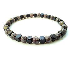 men's bracelet elastic stretch beaded Obsidian stone wooden beads surfer gift