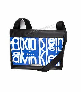 NEW Mens Calvin Klein Messenger Bag Riley City Carry All Leather Blue & Black