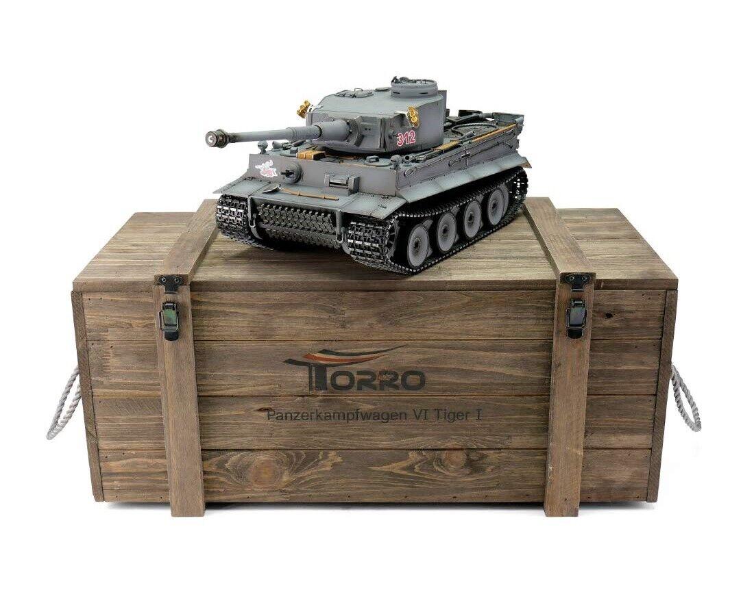 1 16 Torro Tiger I Early Version RC Tank 2.4GHz Infrarosso Metal Edition PRO grigio