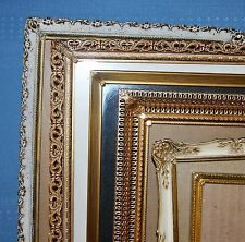 Lot of 7 Vintage Creamy White & Gold Metal Picture Frames Various Sizes #110