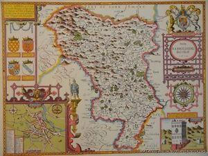 Vecchia copia di John velocità mappa del Derbyshire DERBY città piano 1610 Buxton