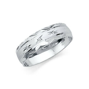14k-Solid-White-Gold-Men-039-s-Stars-Solitaire-Ring-Wedding-Band