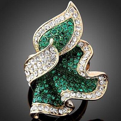 Fuschia Flower Green Feather shape Austrian Crystal 18k GP cocktail Finger Ring